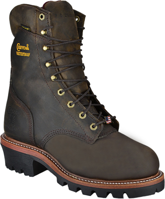 "Men's Chippewa Boots 9"" Steel Toe WP Super Logger Work Boot 25407 