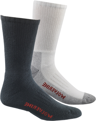"Wolverine 2-Pair-Pack ""Steel Toe"" Footwear Usage Cotton Sock W91100270"